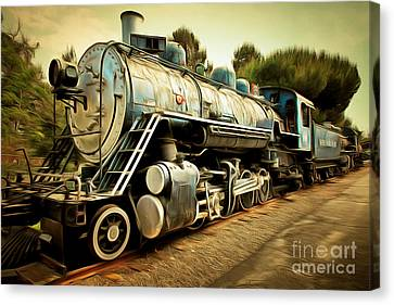 Vintage Steam Locomotive 5d29142brun Canvas Print
