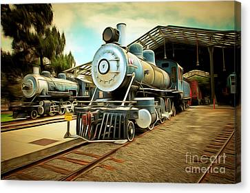 Vintage Steam Locomotive 5d29179brun Canvas Print