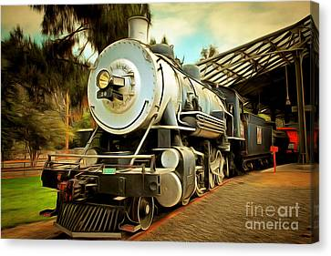 Vintage Steam Locomotive 5d29200brun Canvas Print