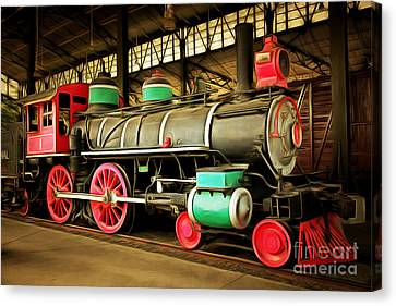 Vintage Steam Locomotive 5d29244brun Canvas Print