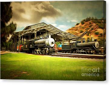 Vintage Steam Locomotive 5d29279brun Canvas Print