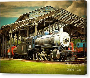 Vintage Steam Locomotive 5d29281brun Canvas Print