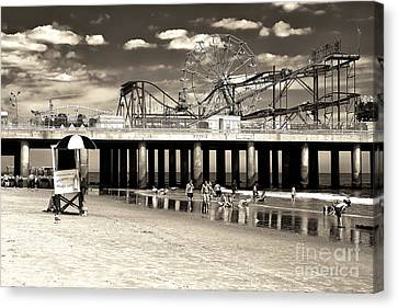 Vintage Steel Pier Canvas Print by John Rizzuto