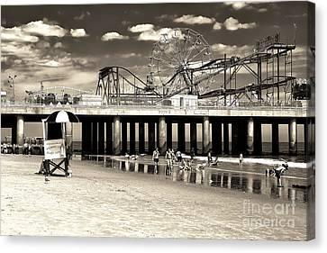 Coaster Canvas Print - Vintage Steel Pier by John Rizzuto