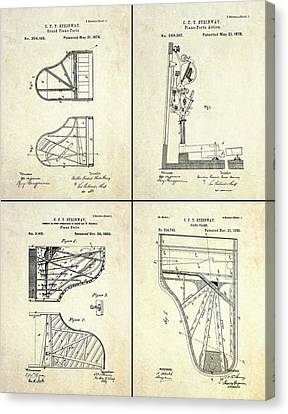 Vintage Steinway 4 Panel Patent Art Canvas Print by Gary Bodnar