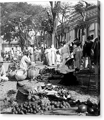 Vintage Street Scene In Ponce - Puerto Rico - C 1899 Canvas Print
