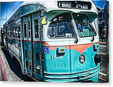 Vintage Streetcar Of San Francisco Canvas Print by George Oze