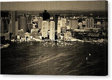 Vintage Style Boston Skyline Canvas Print