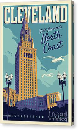 Vintage Style Cleveland Travel Poster Canvas Print by Jim Zahniser