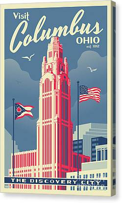 Cleveland Indians Canvas Print - Vintage Style Columbus Travel Poster by Jim Zahniser