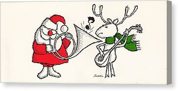 Vintage Style Of Santa Playing Canvas Print by Gillham Studios