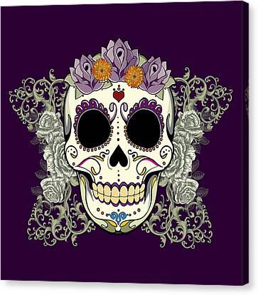 Vintage Sugar Skull And Flowers Canvas Print