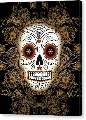 Celebration Canvas Print - Vintage Sugar Skull by Tammy Wetzel