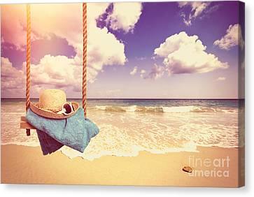 Vintage Summer Postcard Canvas Print by Amanda Elwell
