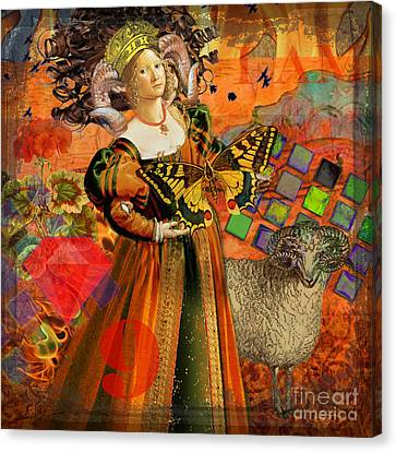 Vintage Taurus Gothic Whimsical Collage Woman Fantasy Canvas Print