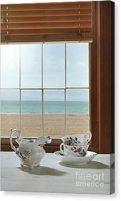 Venetian Blinds Canvas Print - Vintage Teacups In The Window by Amanda Elwell