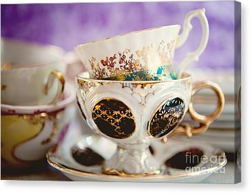 Vintage Teacups Canvas Print by Kim Fearheiley