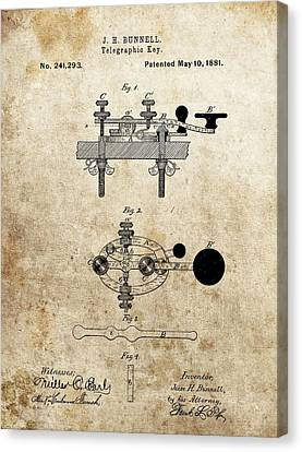 Transmission Canvas Print - Vintage Telegraph Key Patent by Dan Sproul