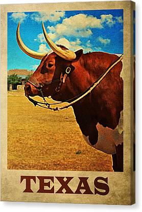 Rustic Canvas Print - Texas Bull by Flo Karp