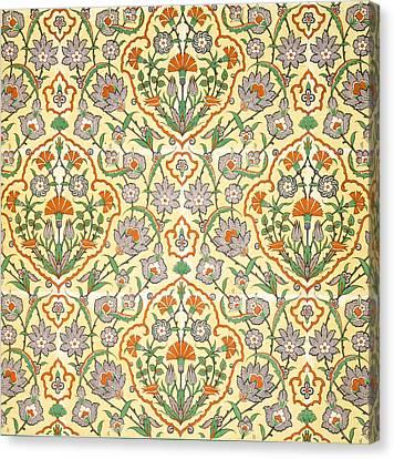 Vintage Textile Pattern Canvas Print by Emile Prisse d'Avennes