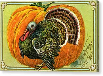 Vintage Thanksgiving Card Canvas Print by American School
