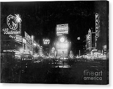 Canvas Print featuring the photograph Vintage Times Square At Night Black And White by John Stephens