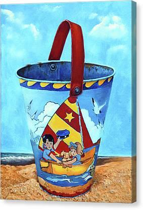 Beach Pails Canvas Print - Vintage Tin Sand Bucket by Enzie Shahmiri