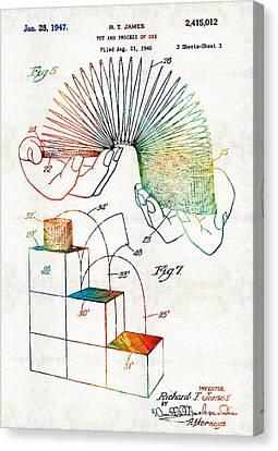 Vintage Toy Patent - Slinky - Sharon Cummings Canvas Print by Sharon Cummings