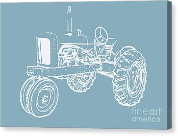 Vintage Tractor Blue And White Canvas Print by Edward Fielding