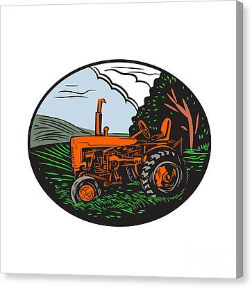 Vintage Tractor Farm Woodcut Canvas Print