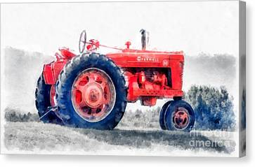 Vintage Tractor Watercolor Canvas Print by Edward Fielding