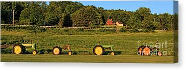 Vintage Tractors Sunset Panoramic Canvas Print by Edward Fielding