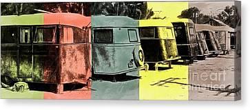 Canvas Print featuring the painting Sarasota Series Vintage Trailer Park Pop Art by Edward Fielding