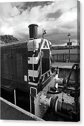 Rail Siding Canvas Print - Vintage Train Buffers In Black And White by Gill Billington