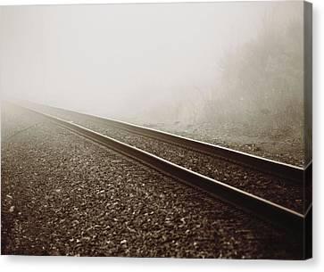 Vintage Train Tracks In Fog Canvas Print by Dan Sproul