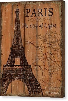 Eiffel Tower Canvas Print - Vintage Travel Paris by Debbie DeWitt