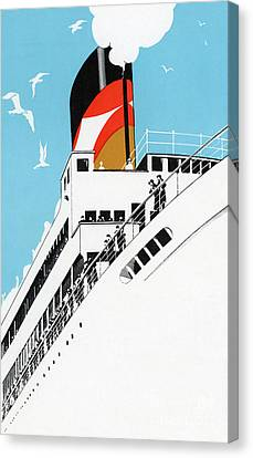 Vintage Travel Poster A Cruise Ship With Passengers, 1928 Canvas Print by American School