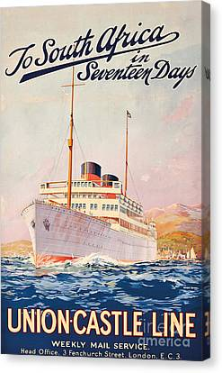 Vintage Travel Poster Advertising A Cruise To South Africa Canvas Print by Maurice Randall