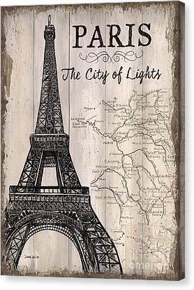World Map Canvas Print - Vintage Travel Poster Paris by Debbie DeWitt