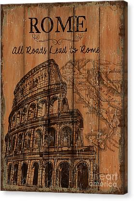 Downtown Canvas Print - Vintage Travel Rome by Debbie DeWitt