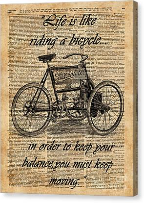 Collage Tapestries - Textiles Canvas Print - Vintage Tricycle Antique Bicycle Motivational Quote Retro Dictionary Art by Jacob Kuch
