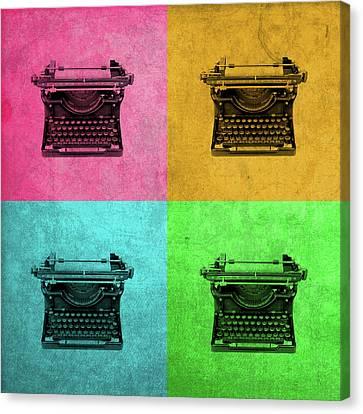 Vintage Typewriter Colorful Pop Art Canvas Print
