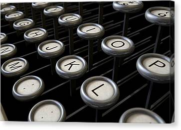 Vintage Typewriter Keys Close Up Canvas Print