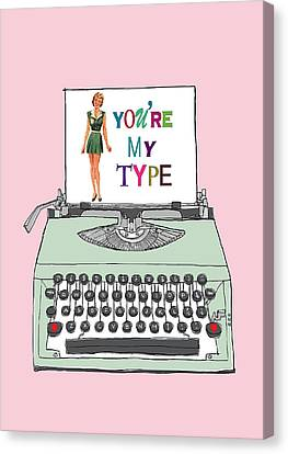 Typewriter Keys Canvas Print - Vintage Typewriter Love Letter by Colleen VT