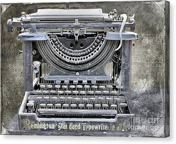 Vintage Typewriter Photo Paint Canvas Print by Nina Silver