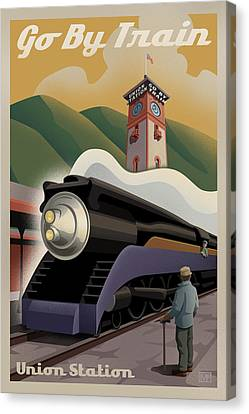 Vintage Trains Canvas Print - Vintage Union Station Train Poster by Mitch Frey