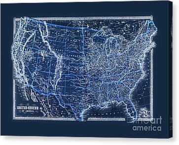 Vintage Us Map From 1880 Canvas Print by Delphimages Photo Creations