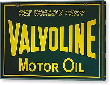 Vintage Valvoline Motor Oil Metal Sign Canvas Print by Marvin Blaine