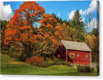 Charming Cottage Canvas Print - Vintage Vermont - Red Barn by Expressive Landscapes Fine Art Photography by Thom
