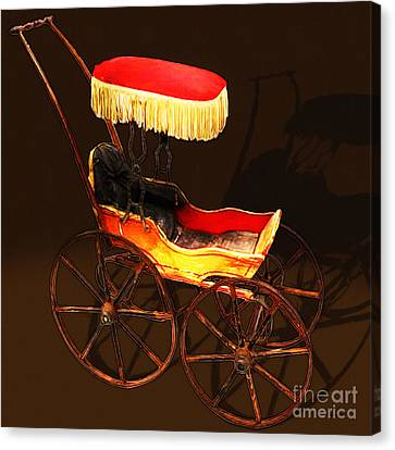 Vintage Victorian Stroller 20150921 Square Canvas Print by Wingsdomain Art and Photography